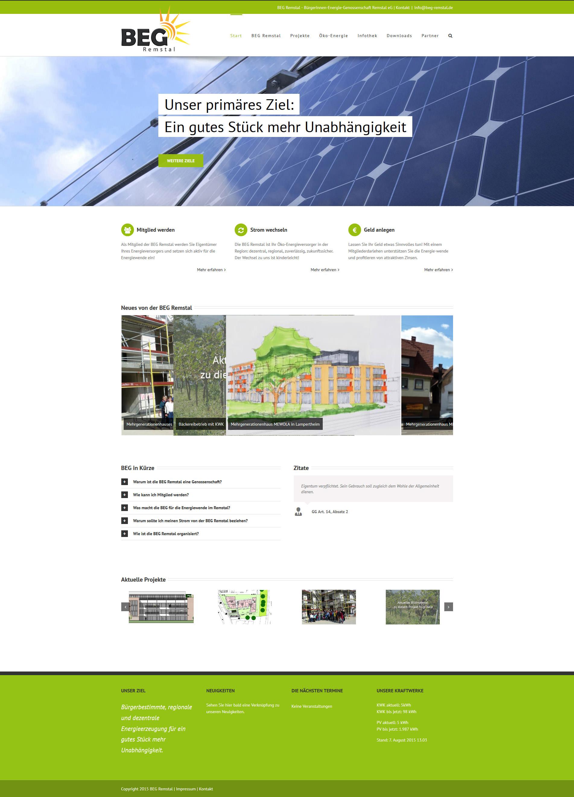 Responsive Website: BEG Remstal. VonSzanto Medien aus Stuttgart